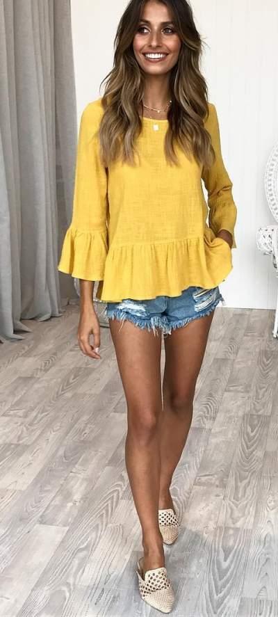 Mustard Top, Denim Shorts And Beige Flats