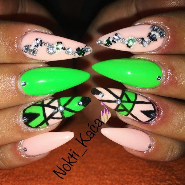 Neon And Peach Stiletto Nails