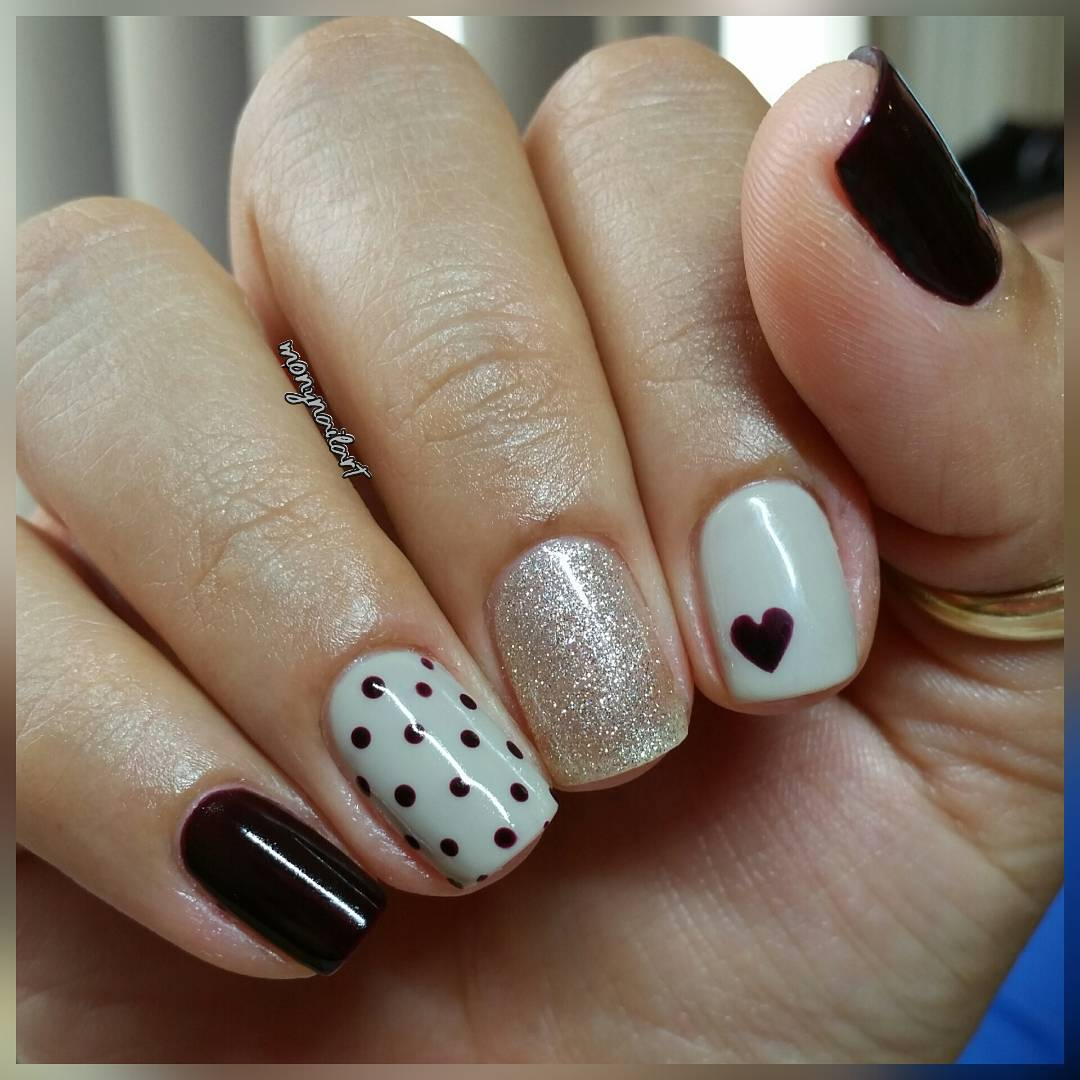 Nice Polka Dot Nails with Heart-Quick and Easy