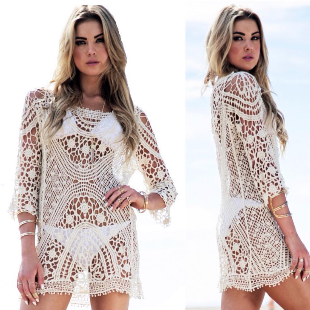 Nice White Knit Coverup For Beach Outing