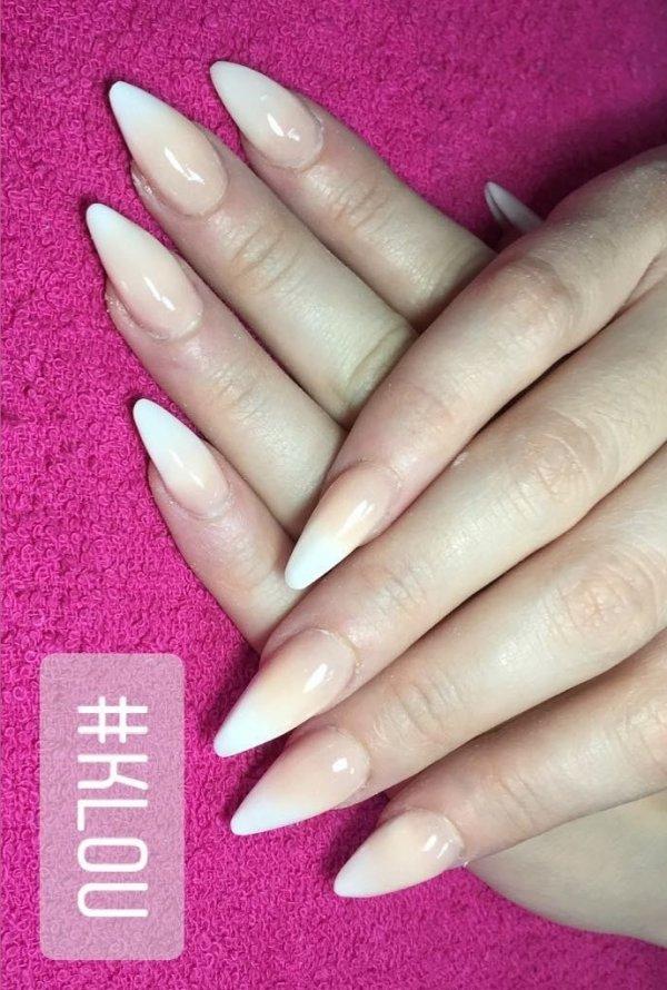 Nude And White Ombre Stiletto Nails