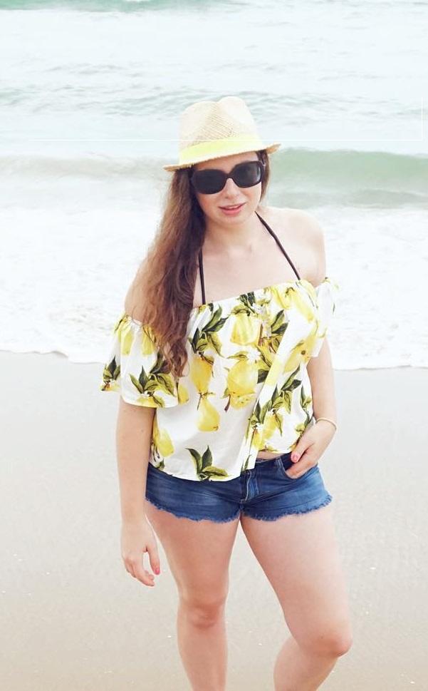 Off Shoulder Floral Top, Denim Shorts, Hat And Sunglasses
