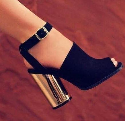 Open Toe Black Suede Shoes With Golden Heel