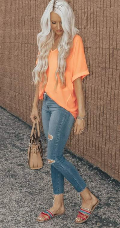 Orange Oversized Top, Distressed Jeans And Flats