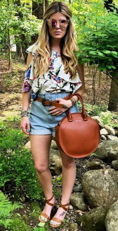 Palm And Floral Print Cold Shoulder Top, Denim Shorts, Sandals And Leather Handbag
