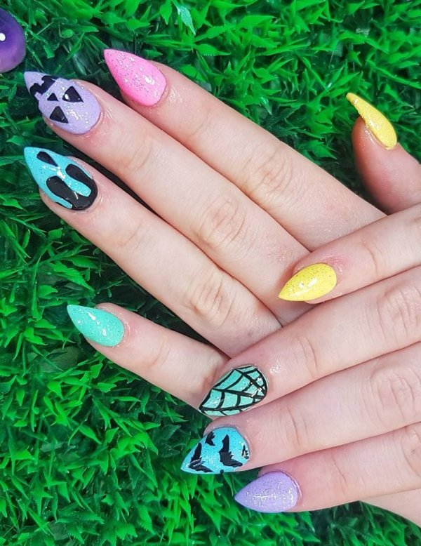 Pastel Rainbow Glitter With Cute Halloween Feature Nails