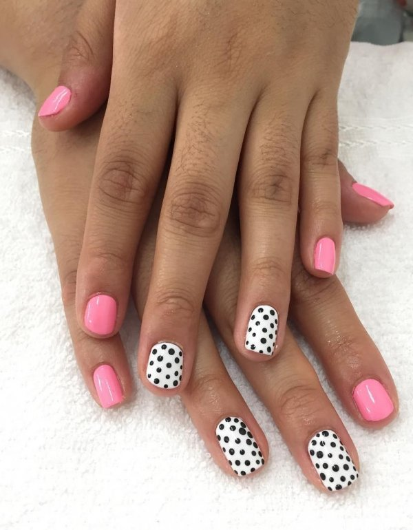 Pink And White Nails With Black Dots
