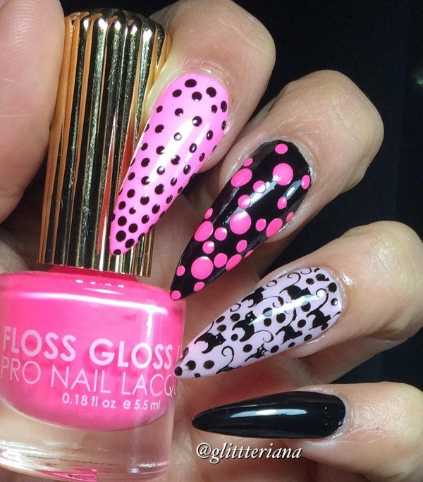 Pink, Black and White Polka Dots Nail Art