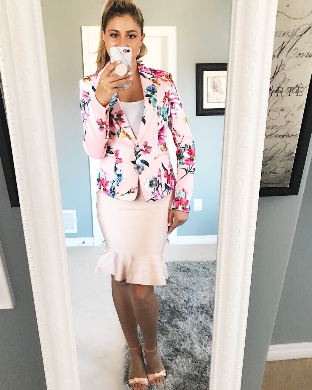Pink Floral Blazer, Peplum Skirt Perfect For Work In Summers