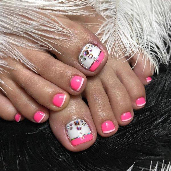 Pink Gel Nails With French Tips And Swarovski Crystals