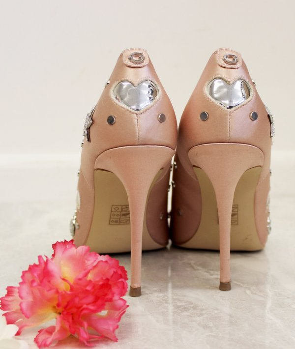 Pink Stilettos With Embedded Hearts On Back