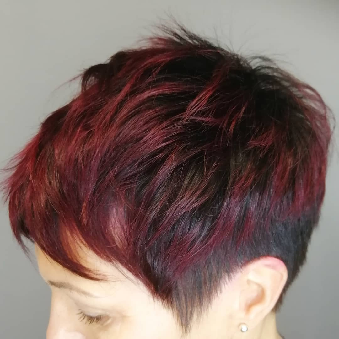 Pixie Haircut With Burgundy Highlights