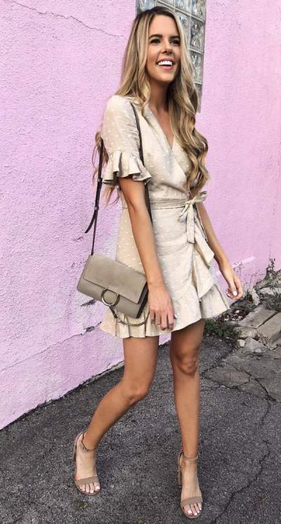 Polka Dots Beige Wrap Short Dress With Matching Heels And Purse