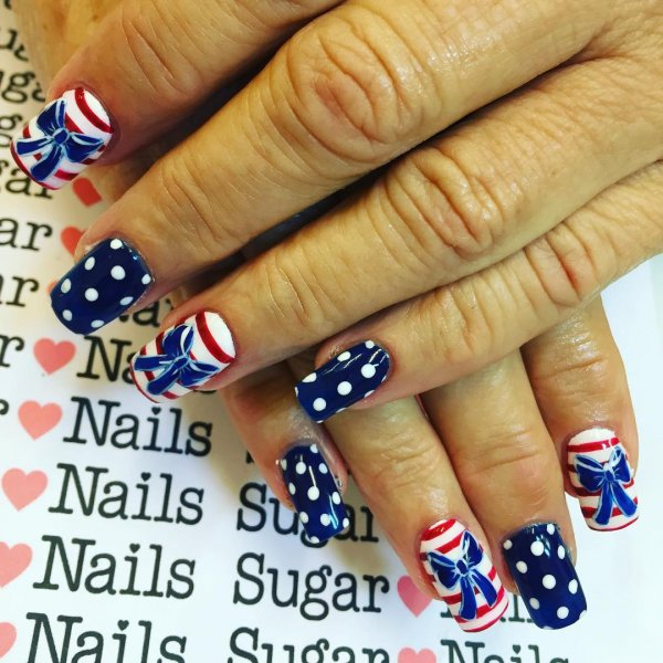Polka Dots, Stripes And Bow Fourth Of July Nail Art