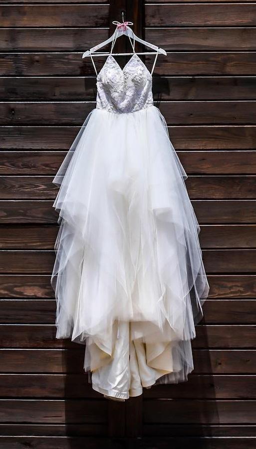 Pretty High-Low Lacy Finish Bridal Wear