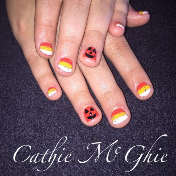 Pumpkin And Candy Corn Painted On Nails