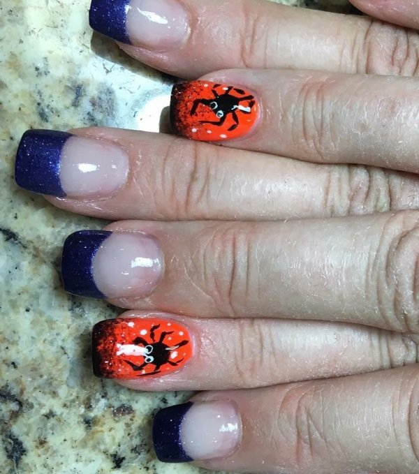 Purple And Orange Spider Halloween French Nails
