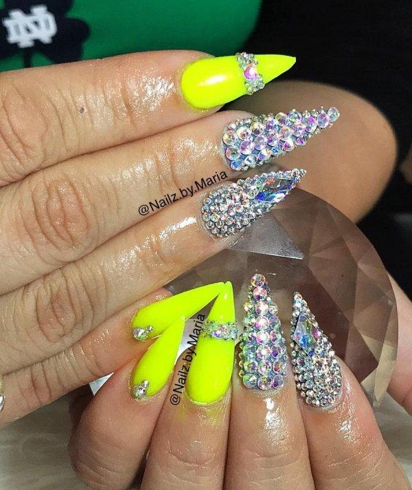 Ravishing Neon Stiletto Nails With Swarovski Crystals