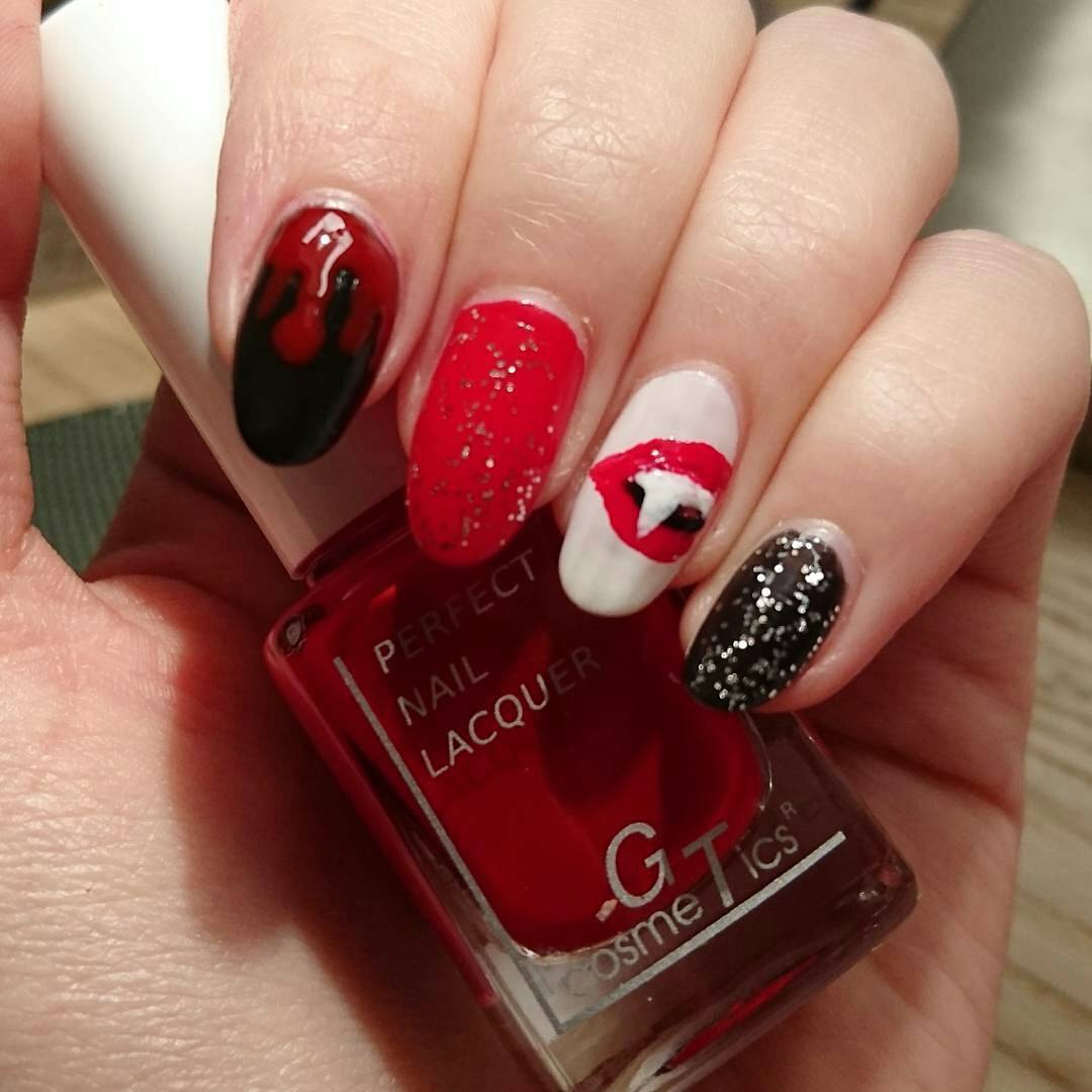 Red And Black Vampire Nails