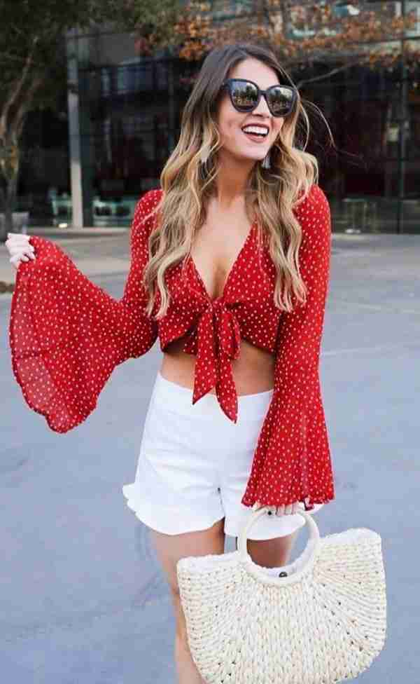 Red Polka Dot V-Neck Front Knot Crop Top And White Shorts