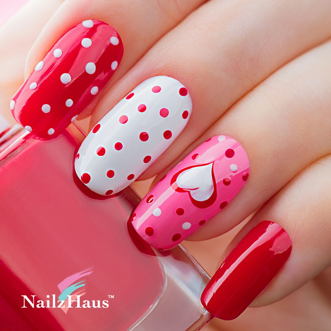 Red and White Polka Dot Nail Art with Heart