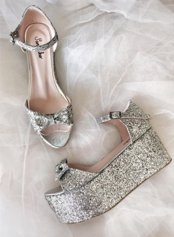 Rocker Style Silver Platform Heels For Bridal Wear