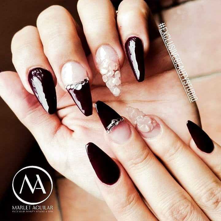 Rocking Black Stiletto Nails With French Tips