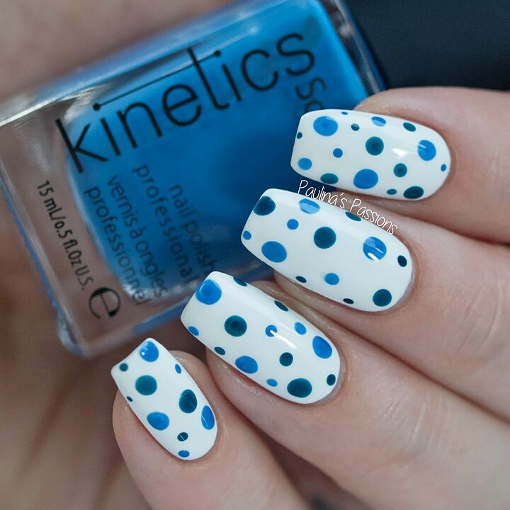 Rocking Blue and Green Polka Dots On White Base