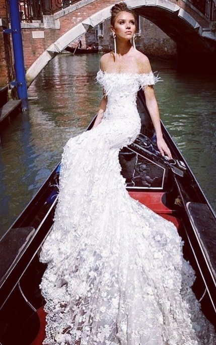 Rocking Off The Shoulder Wedding Gown With Sweeping Trail