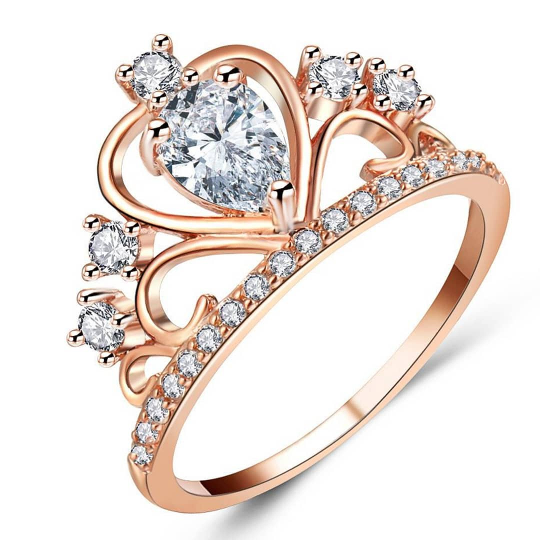 Rose Gold Queen Crown Ring Design