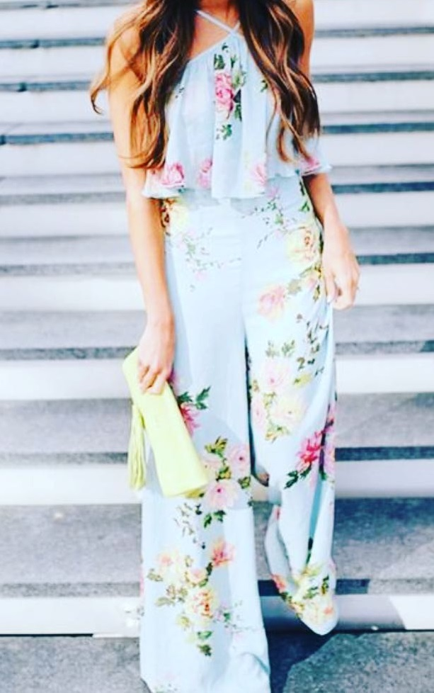 Sassy Floral Print Formal Jumpsuit