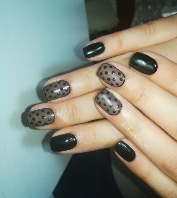 Shear Black Polka Dots Nails