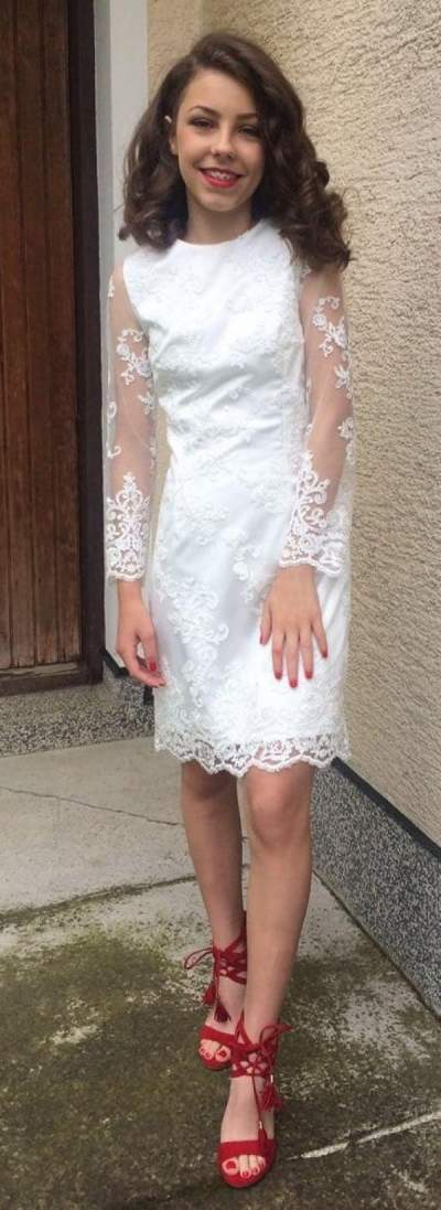 Silky Full Sleeves Short Wedding Dress With Red High Heels