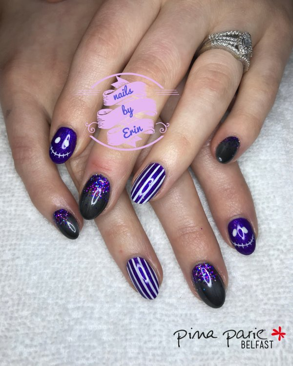 Simple Purple Nails With Stripes And Monster