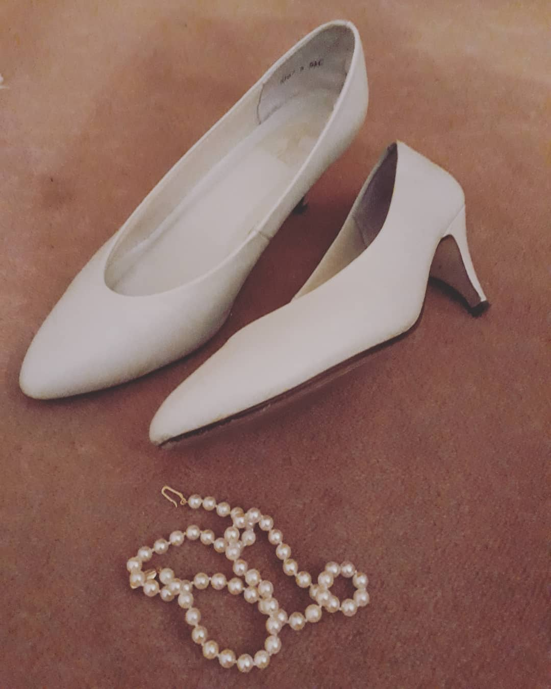 Simple White Bridal Shoes With Kitten Heels