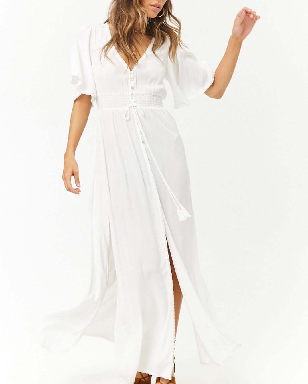 Simple White Maxi Dress With Front Slit For Warm Weather