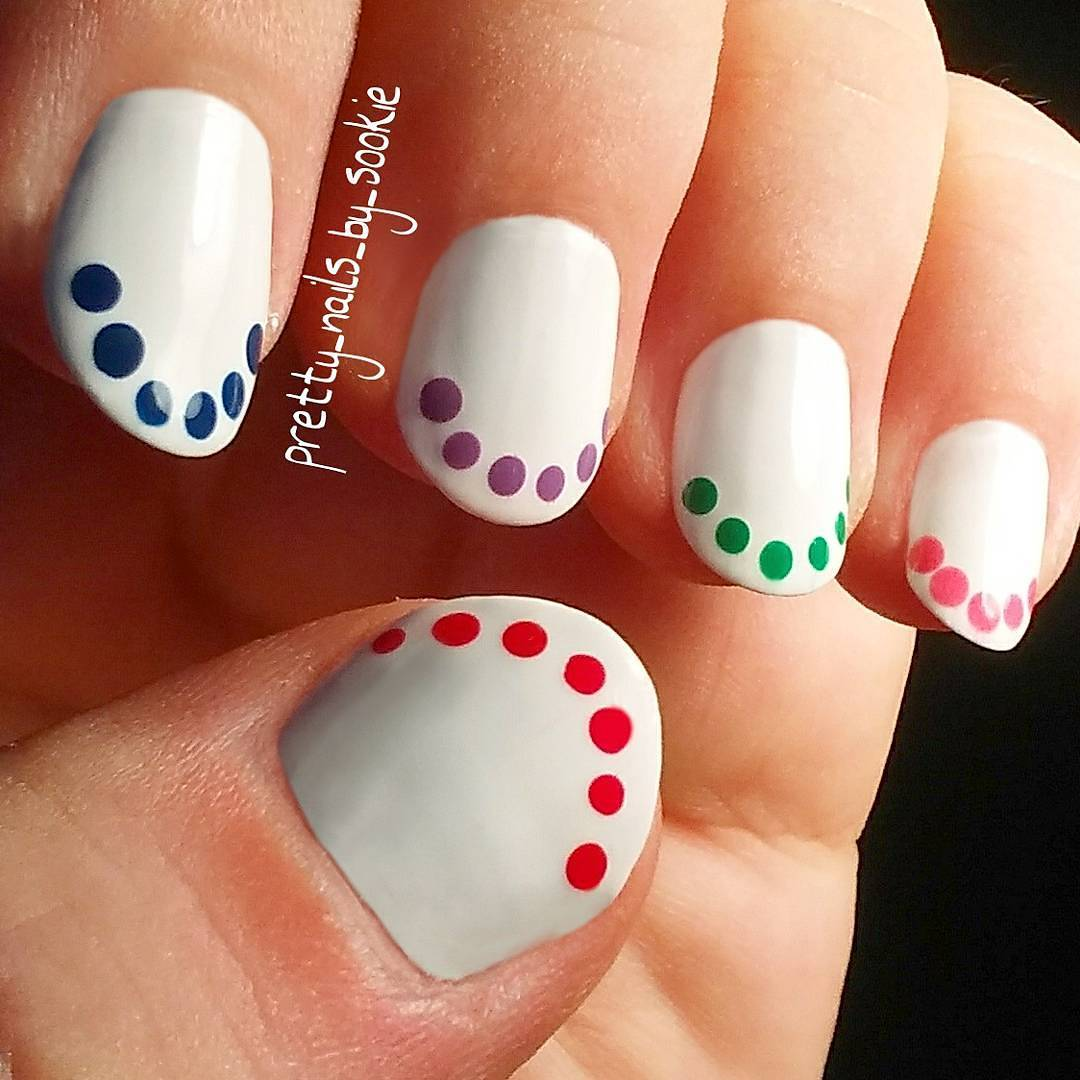 Simplistic Colorful Polka Dots Nail Art