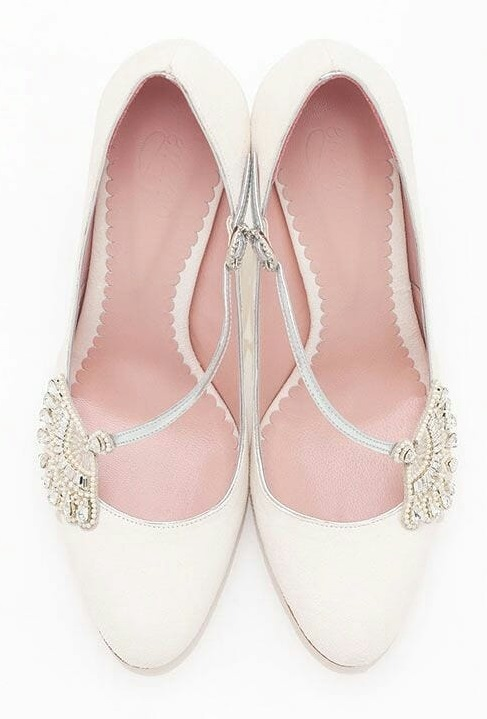 Sleek Rounded Toe Pumps with Delicate Decoration And Ankle Straps