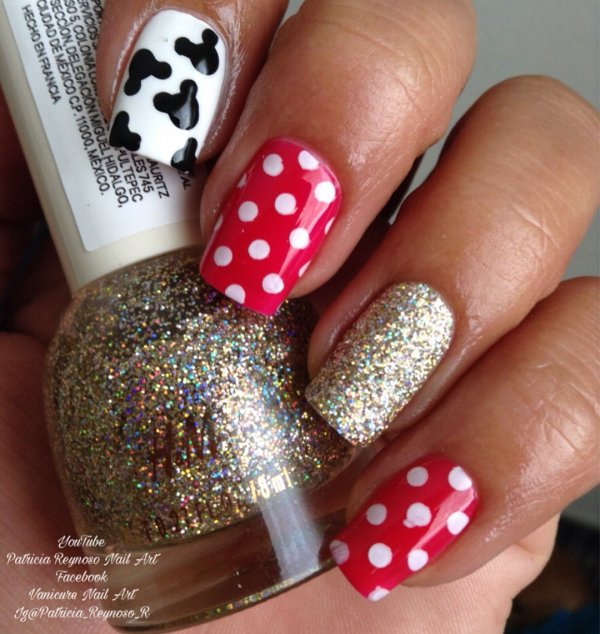 Sophisticated Mickey Mouse with Polka Dot Nail Art