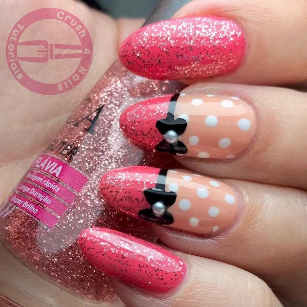 Sparkle Pink Polka Dots Nails with Bow