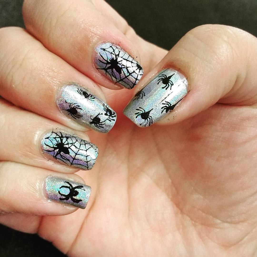 Spider Halloween Nails On Silver Nails