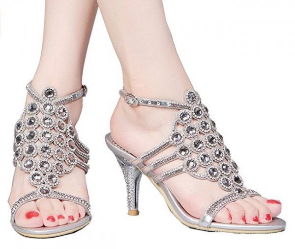 Strappy And Attractive Silver Peep Toe Heels