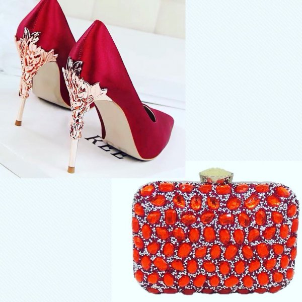 Stunning Red High Rise Stilettos With Embellishments