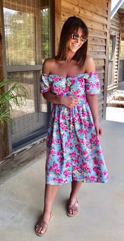 Stylish Off Shoulder Floral Print Dress
