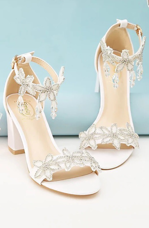 Stylish Rhinestone Embedded Strappy With Front Strap Shoes For Bride