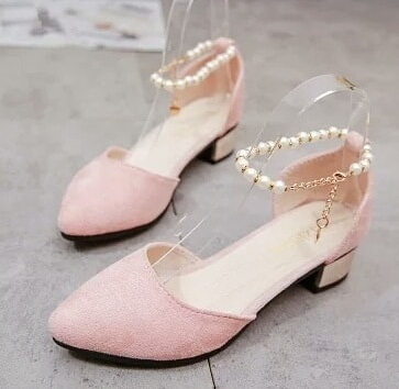 Suede Pink Shoes With Pearl Ankle Strap