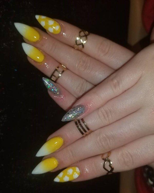 Sunshine Yellow Stiletto Nails With Graduation Cap Print