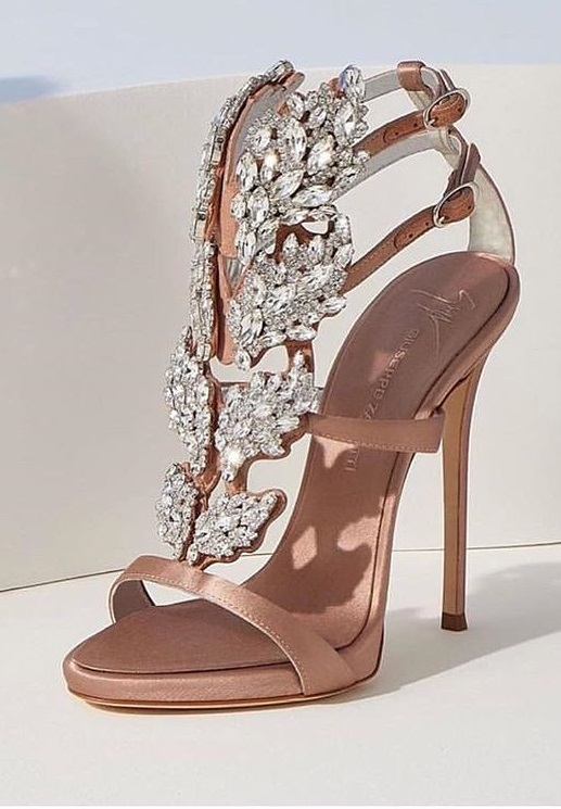 Swanky Rose Gold High Heel Shoes With Embellishments