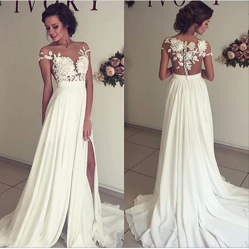 Tattoo Effect Summer Wedding Dress With Side Slit