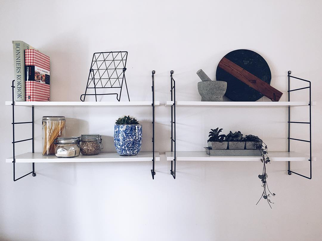 Thin Metal Stand For Wooden Kitchen Shelf